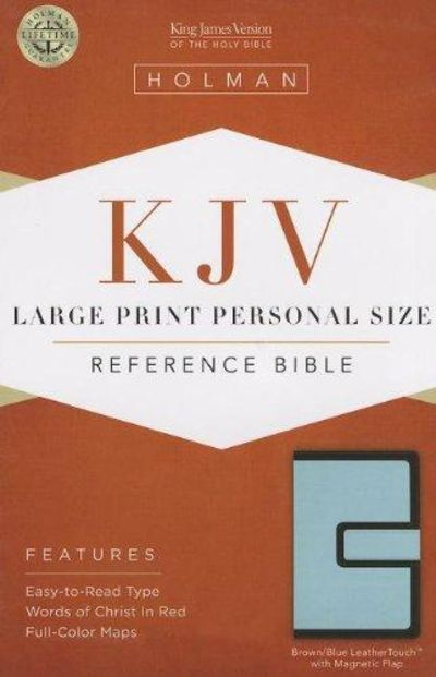 Image for KJV Large Print Personal Size Reference Bible, Brown/Blue LeatherTouch with Magnetic Flap