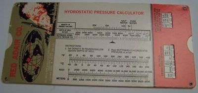 Image for RED ADAIR FLANGE SLIDE RULE--HYDROSTATIC PRESSURE CALCULATOR--OIL & GAS