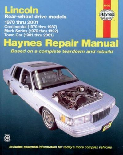 Image for Lincoln Towncar, 1981-2001; Continental, 1970-87; And Mark Series, 1970 -1992 (Haynes Manuals)