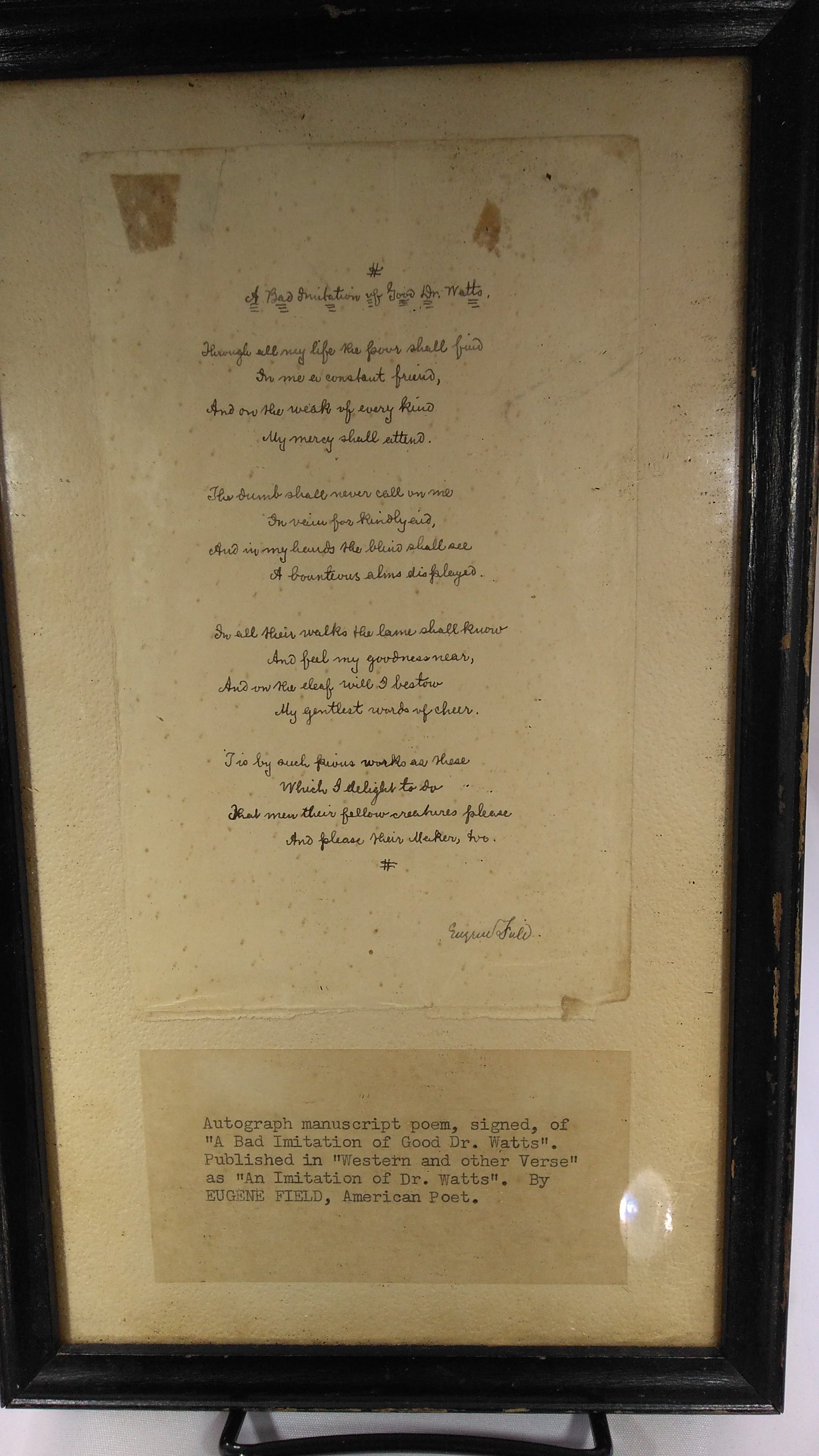 Image for A Bad Imitation Of Good Dr. Watts (Signed Manuscript Poem)