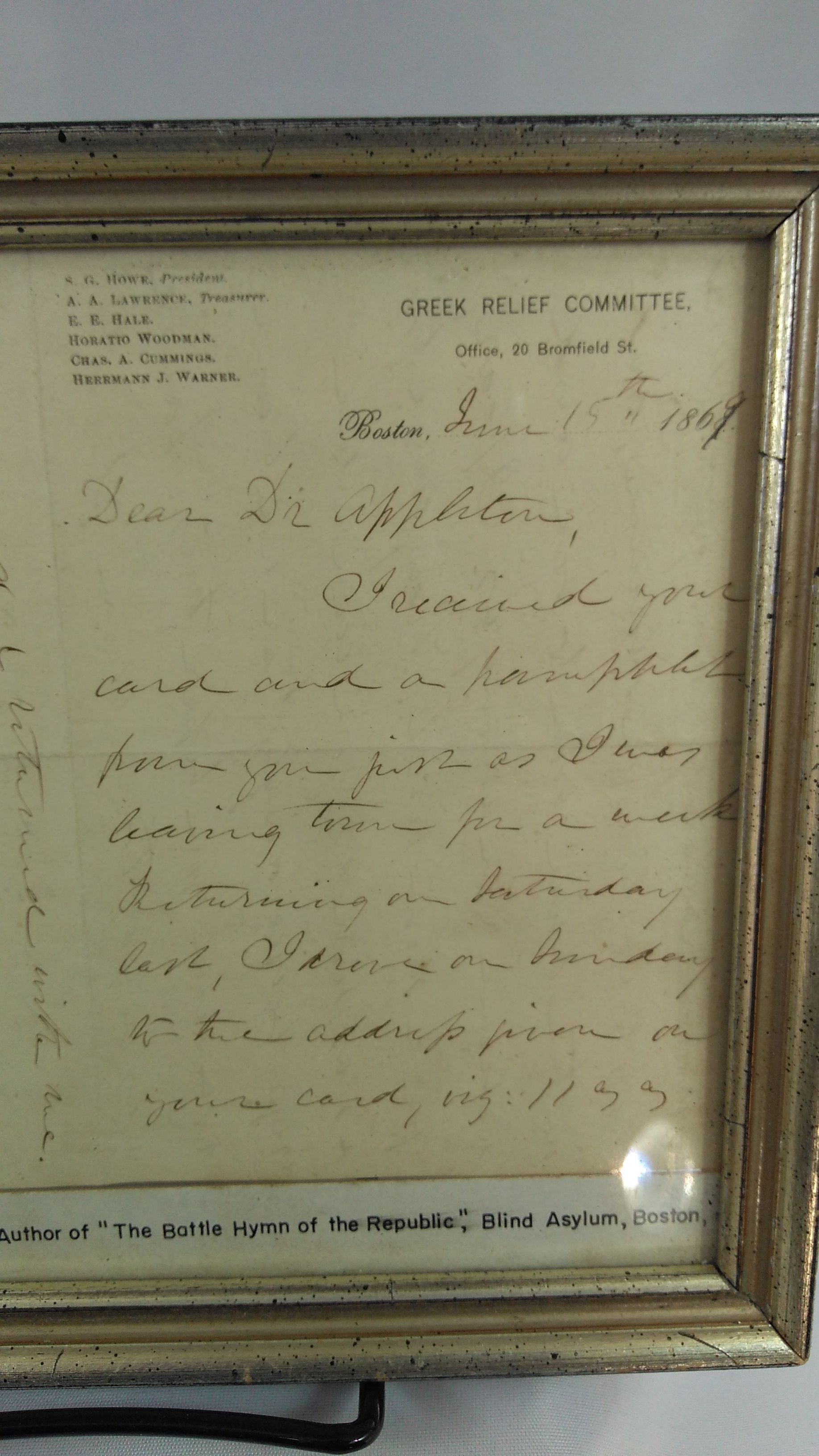 Image for Julia Ward Howe letter signed with full signature. June 15, 1869.